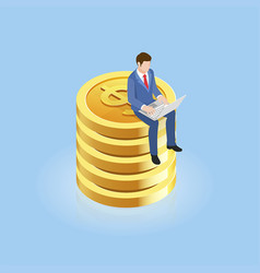 businessman sitting on gold coins isometric vector image