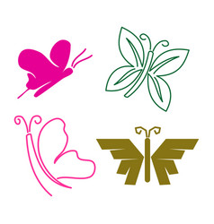 Butterfly line simple logo design icon set vector