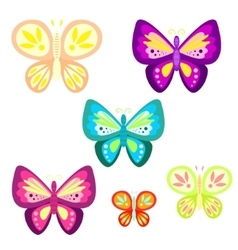 Butterfly set cartoon vector