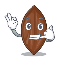 Call me fresh pecan nuts isolated on mascot vector