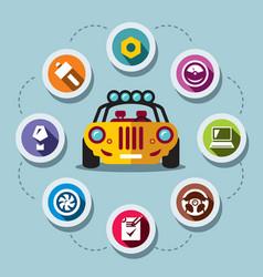 car repair flat style colorful cartoon vector image