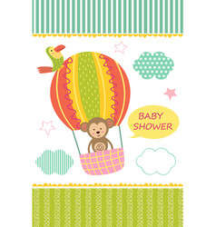 Card with baby monkey on air balloon vector