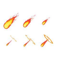 Cartoon comet effect stages set vector