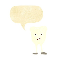 Cartoon yellowing tooth with speech bubble vector