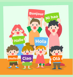 Children learning various language vector