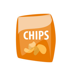 Chips in package fast food unhealthy potatoes vector