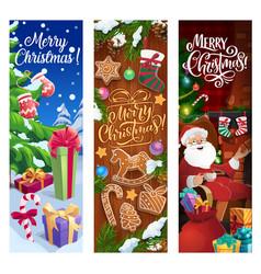 Christmas gifts santa presents xmas tree banners vector
