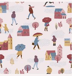 city in rain autumn vector image