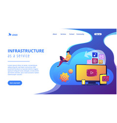 Cloud based engine concept landing page vector