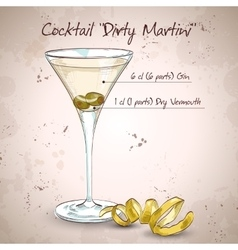 Cocktail dirty martini vector