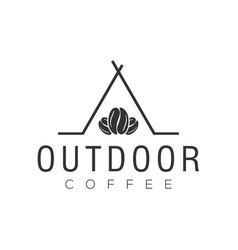 Coffee outdoor tent camp logo for cafe resto vector