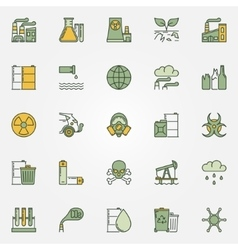 Colorful pollution icons vector