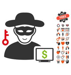 computer thief icon with love bonus vector image