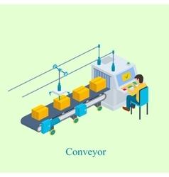 Conveyor Isometric industrial vector