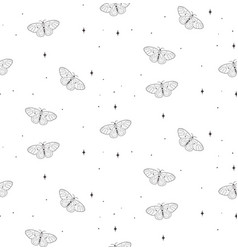 Cosmic seamless pattern with stars butterflies vector