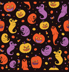 Cute halloween candy corn pattern vector