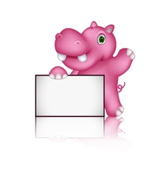 Cute hippo cartoon with blank sign vector