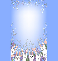 cute little bunnies in hyacinths and tulip flowers vector image