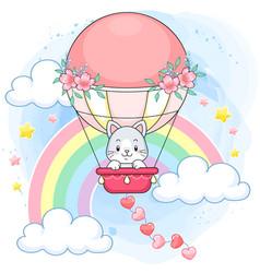 cute pastel kitten on a pink hot air balloon vector image