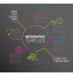 Dark Infographic report template made from lines vector