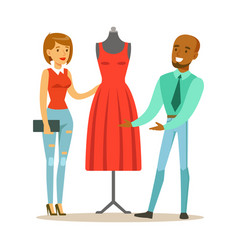 designer demonstrating finished red dress to vector image