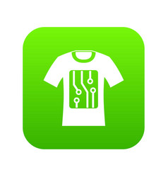 electronic t-shirt icon digital green vector image