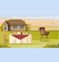 Family barbeque on country house yard vector