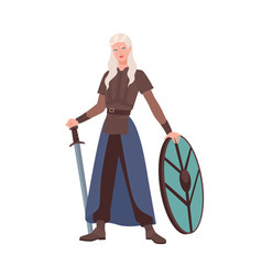 female warrior or medieval knight holding sword vector image