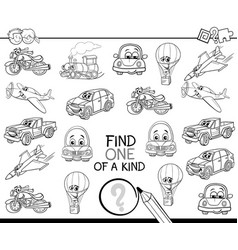Find one of a kind coloring book vector