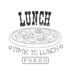 fresh cafe lunch menu promo sign in sketch style vector image