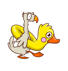 funny tropical bird with inflatable rubber in vector image