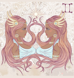 Gemini as a portrait of beautiful african girl vector image