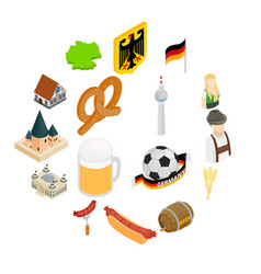 germany isometric 3d icons vector image