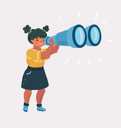 girl explorer with binoculars vector image