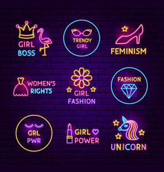 Girl power neon label set vector