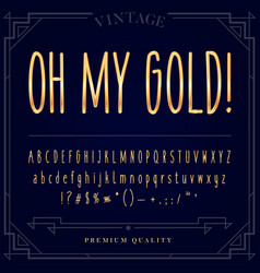 gold metallic font set letters numbers and vector image