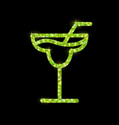Golden cocktail flat icon design margarita vector