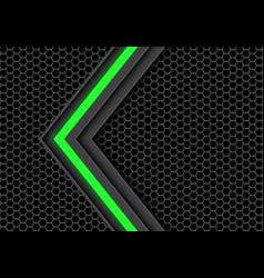 Green light arrow on dark gray hexagon mesh vector