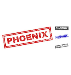 Grunge phoenix scratched rectangle watermarks vector