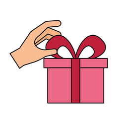 hand with gift box bow decoration vector image