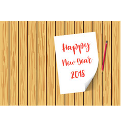 happy new year 2018 paper on wooden planks with vector image