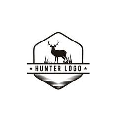Hunter emblem logo design vector