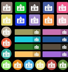 Identification card icon sign Set from twenty vector