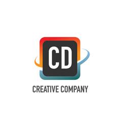 initial letter cd swoosh creative design logo vector image