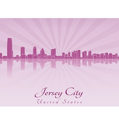 Jersey City skyline in purple radiant orchid vector