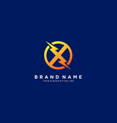 Letter x flash electrical logo design vector