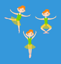 little smiling ballerinas in dance pattern art vector image