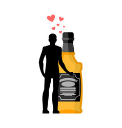 lover alcohol drink man and bottle of whiskey vector image
