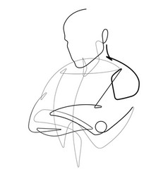 male figure with arms crossed one continuous line vector image