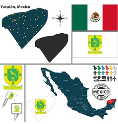 Map of Yucatan vector image
